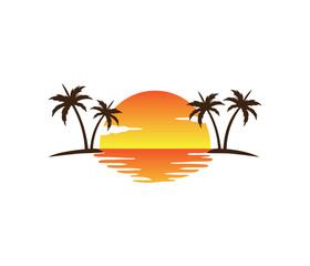 sunset palm coconut tree beach vector logo design