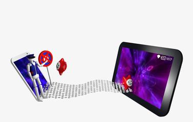 Datenstrom zwischen einem Handy und Tablet, das eine mit Virenschutz das andere ohne.
