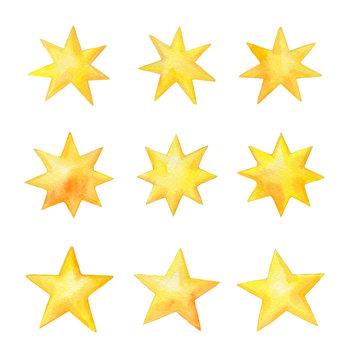 Set of watercolor stars