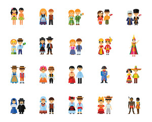 National costumes icon set