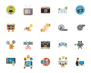 Photo and video industry icon set
