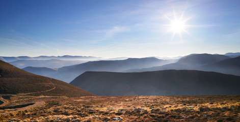 Mist on a cold morning over the Derwent Fells in the English Lake District, UK.
