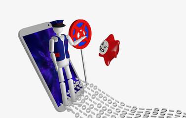 Ein Computervirus der mit einem Datenstrom ins Handy will, muss vor einem Sicherheitsbeamten und Antivirenschild stoppen.