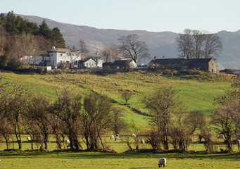 LAKE DISTRICT, ENGLAND, UK - JANUARY 21, 2017: The traditional countryside Inn, Swinside Inn, in the English Lake District.