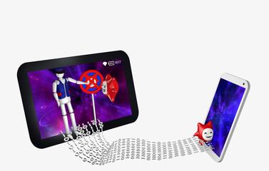 Datenstrom zwischen einem Handy und Tablet. Vor dem Tablet steht ein wütender Virus, der wegen Virenschutz nicht rein kommt, in das Handy ohne Virenschutz, dringt ein Virus glücklich ein.