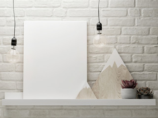 Mock up poster with decorative set, white brick wall background, 3d render, 3d illustration