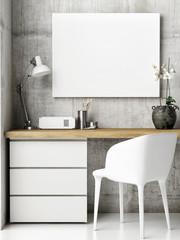 Mock up poster in hipster office, wooden desk with retro decoration style, 3d render, 3d illustration