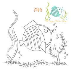 Kids coloring page - fish