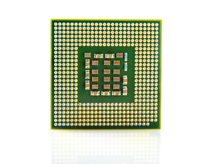 Macro shot of computer processor isolated on white background.