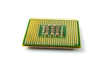 Close up of computer processor isolated on white background.