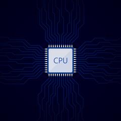 CPU on dark blue motherboard