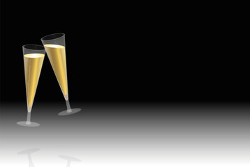 Toast with two floating champagne glasses at new years eve, company celebration, birthday party, wedding or any other merry feast - vector illustration on black to white gradient background.