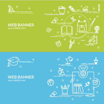 Flat colorful design concept for Education. Infographic idea of making creative products.  Template for website banner, flyer and poster.