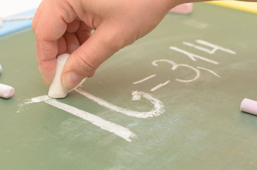 An image of the Pi number on the school board with chalk.