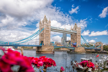 Fototapete - Tower Bridge with flowers in London, England, UK