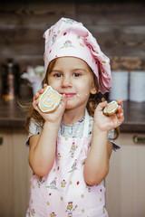 Child kitchen girls cook apron cupcake cookies small funny three sisters cap cream cream decor