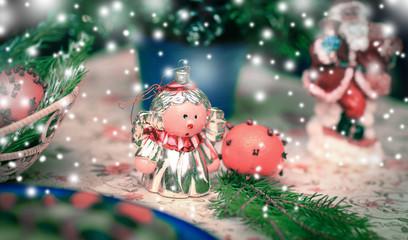 Christmas card.Christmas figurines on the table.