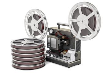 Cinema projector with movie reels. 3D rendering
