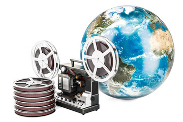 Global film distribution concept, 3D rendering