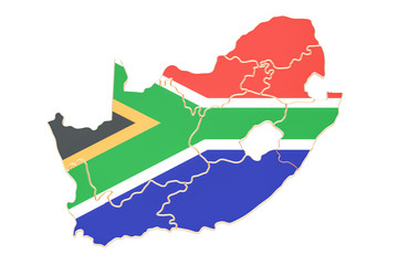 Map of South Africa, 3D rendering