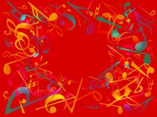音楽ミュージック, 背景イラストポスター赤
