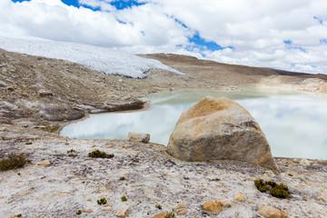 Wall Mural - Glacier lake rock Cordillera Vilcanota scenic landscape mountains, Peru.