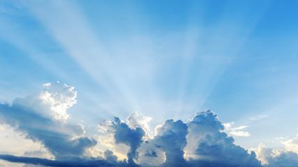 Beautiful cloudscape sunset with sun rays