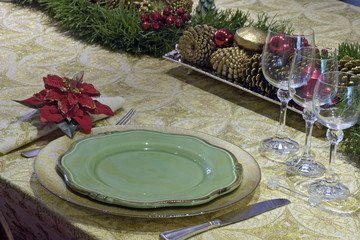 Close-up of decorated table for the Christmas supper