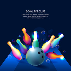 Vector glowing neon bowling club banner or poster with multicolor 3d bowling balls and pins.