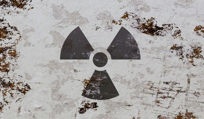 Nuclear and radioactive symbol on grunge background. 3D rendered illustration.