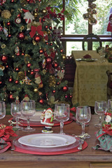 Table decorated with typical Christmas ornaments