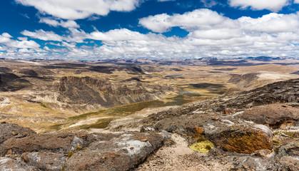 Wall Mural - Cordillera Vilcanota scenic landscape mountains range valley peaks view, Peru.