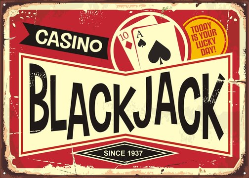 Blackjack retro casino sign. Gambling or casino theme with decorative black jack sign post. Vintage vector illustration.
