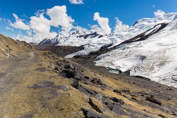 Wall Mural - Cordillera Vilcanota scenic glacier mountains range peaks view Peru.