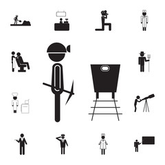 Coal miner extracts coal icon. Set of professions disasters icons. Signs and symbols collection, simple icons for websites, web design, mobile app, info graphics