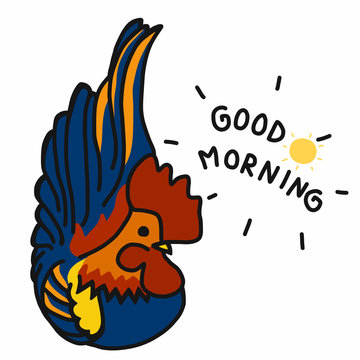 Cute rooster cartoon good morning vector illustration