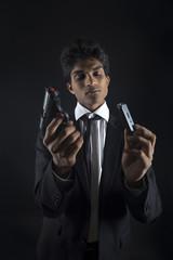Secret agent reloading a gun