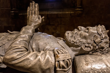 Tomb of the 16th century poet Luis Vaz de Camoens in the Jeronimos Monastery. Camoens is considered Portugal's and the Portuguese language's greatest poet.