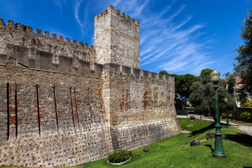 Sao Jorge Castle in Lisbon, Portugal, one of the main tourist sites of the city, constructed during the Moorish occupation of Lisbon.