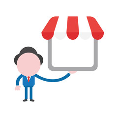 Vector illustration concept of faceless businessman character holding shop with awning