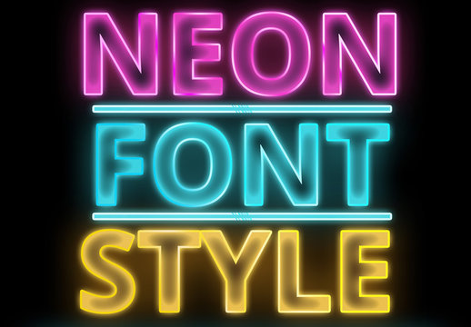 Neon Outlined Font Style 1