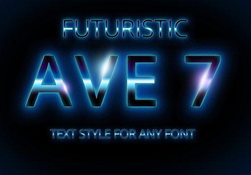 Futuristic Blue Glow Font Style