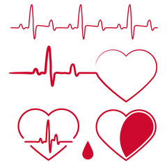 Heart cardiogram waves,Heartbeat Graph Red sign, One line pulse. vector