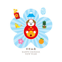 Chinese new year sign. Celebrate year of dog.