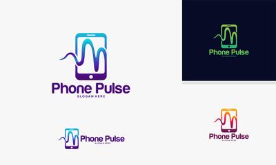 Modern 3D Phone Pulse logo template, Mobile Health Logo designs vector