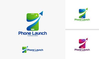 Phone Launch logo designs vector, Mobile Rocket logo template