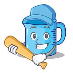 Playing baseball measuring cup character cartoon