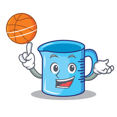 With basketball measuring cup character cartoon