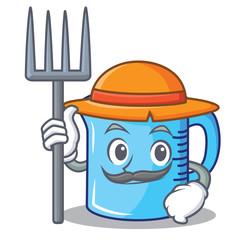 Farmer measuring cup character cartoon