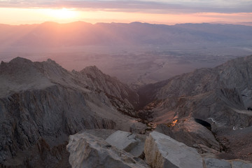 Sunrise over Owens Valley from Mt Whitney Summit